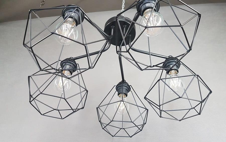 Lampa Sufitowa Geo 5x60w Industrialna Druciana Czarna Loft Retro Film