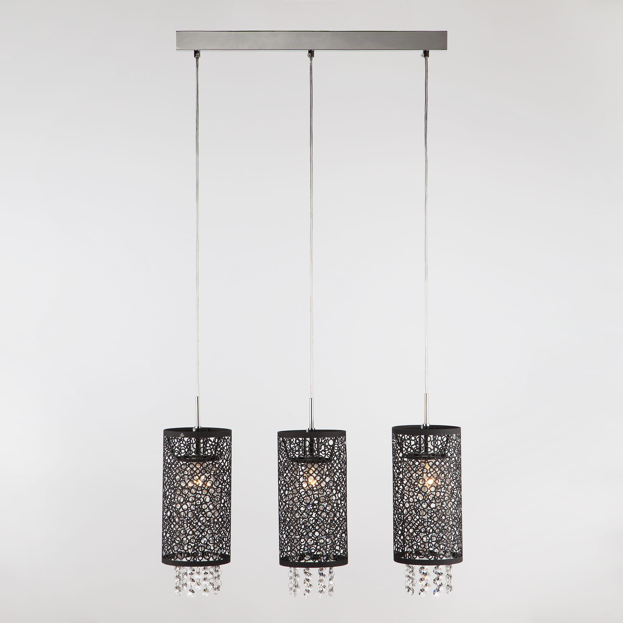 Lampa Sufitowa Manhattan Czarna Krysztalki 3x60w Eurostar